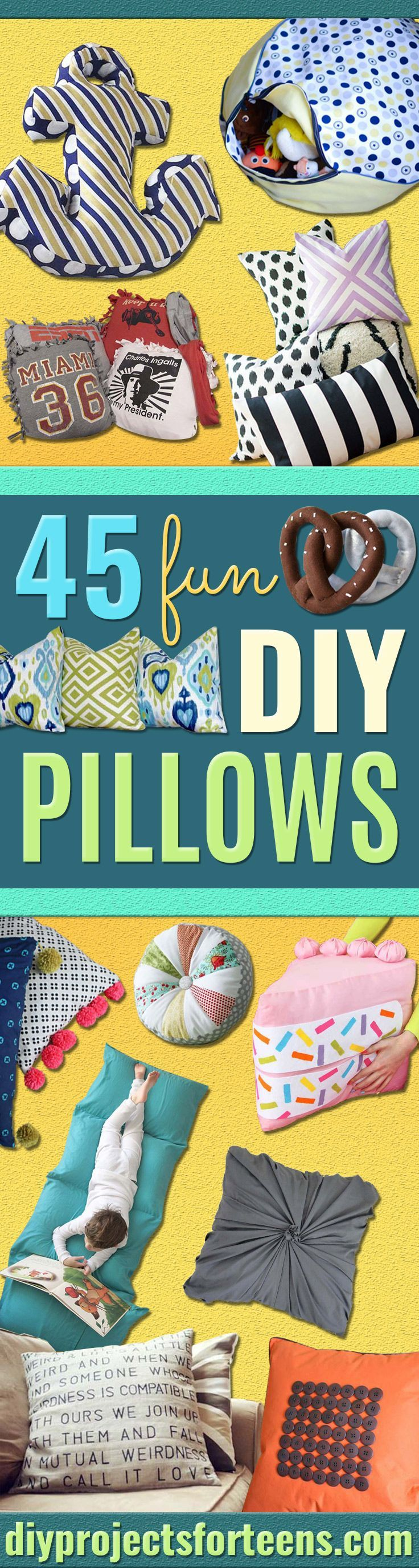 DIY Pillows and Fun Pillow Projects - Creative, Decorative Cases and Covers, Throw Pillows, Cute and Easy Tutorials for Making Crafty Home Decor - Sewing Tutorials and No Sew Ideas for Room and Bedroom Decor for Teens, Teenagers and Adults