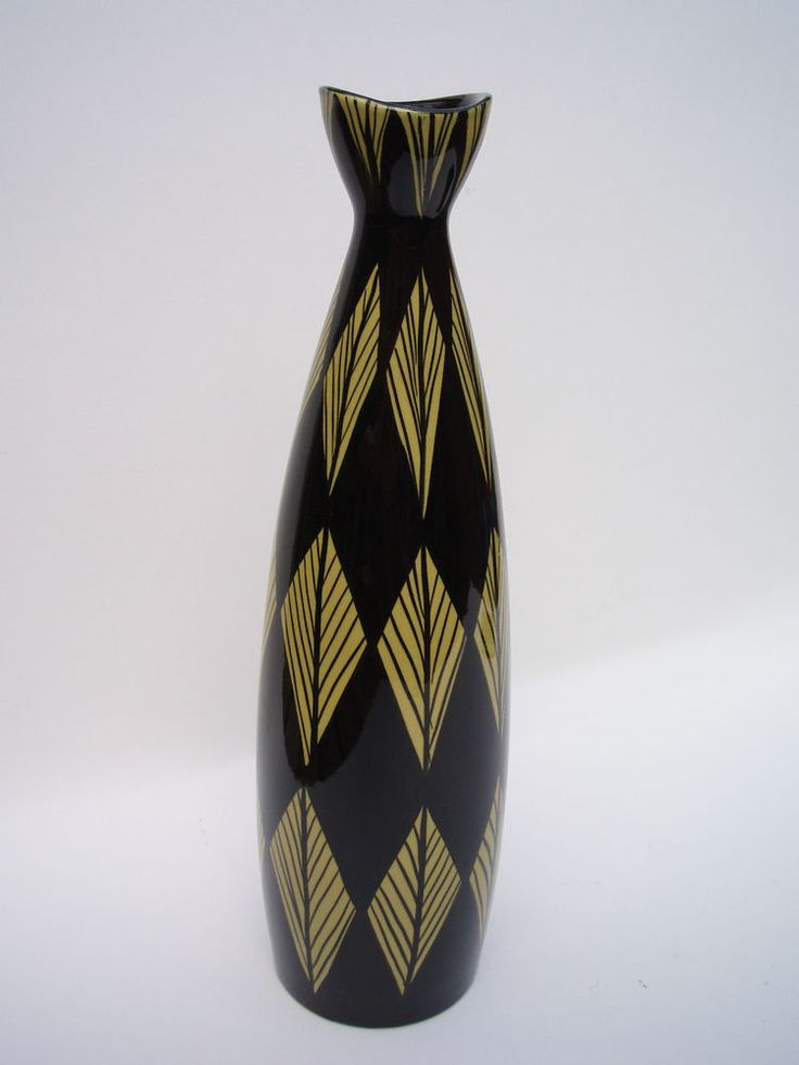 Inger Waage for Stavangerflint Norway. Large Vase in Pattern 44 Norwegian 1950s