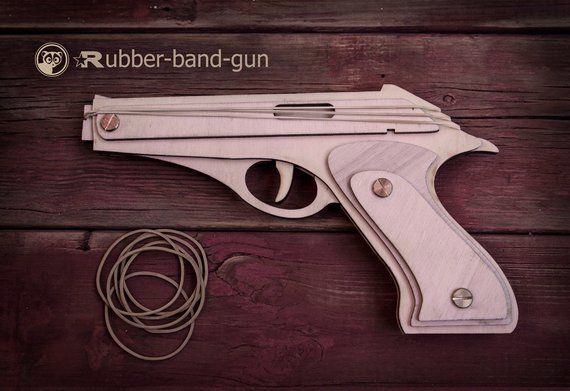 Husband Gift, Rubber Band Gun With Animals Targets. Wooden Gun Shoots Rubber Bands! Father's Day Gif