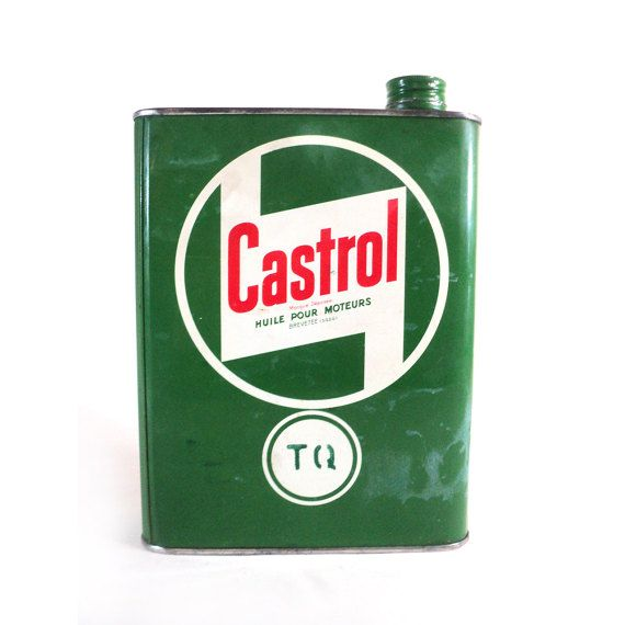 French TQ Castrol Motor Oil Tin Can Vintage by LaBelleEpoqueDeco