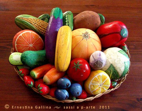 Colorful painted rock fruit and veggies