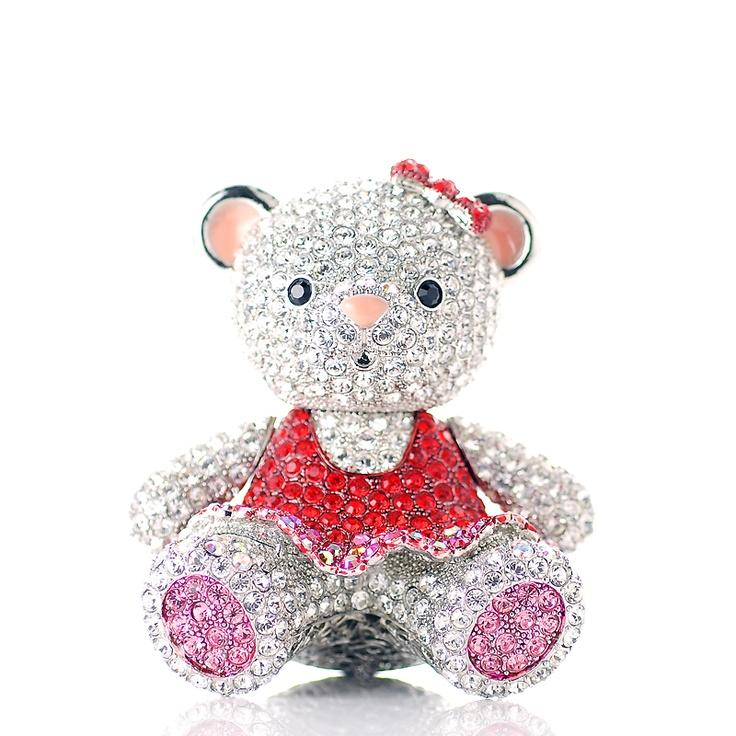Glass asian teddy figurines bear
