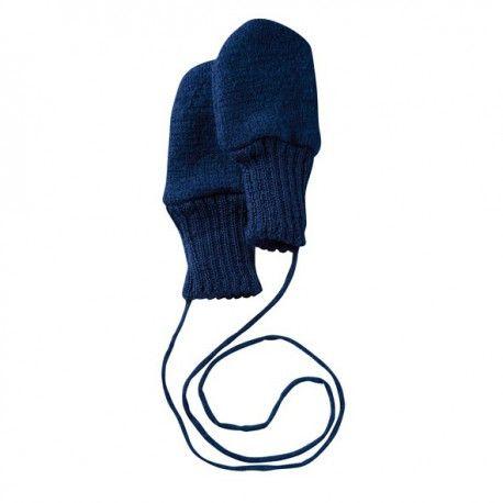 Wool mittens marine blue, Disana