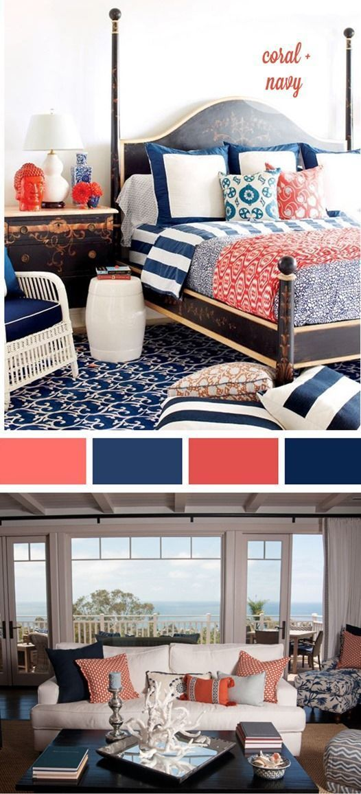 Guest room - coral & navy