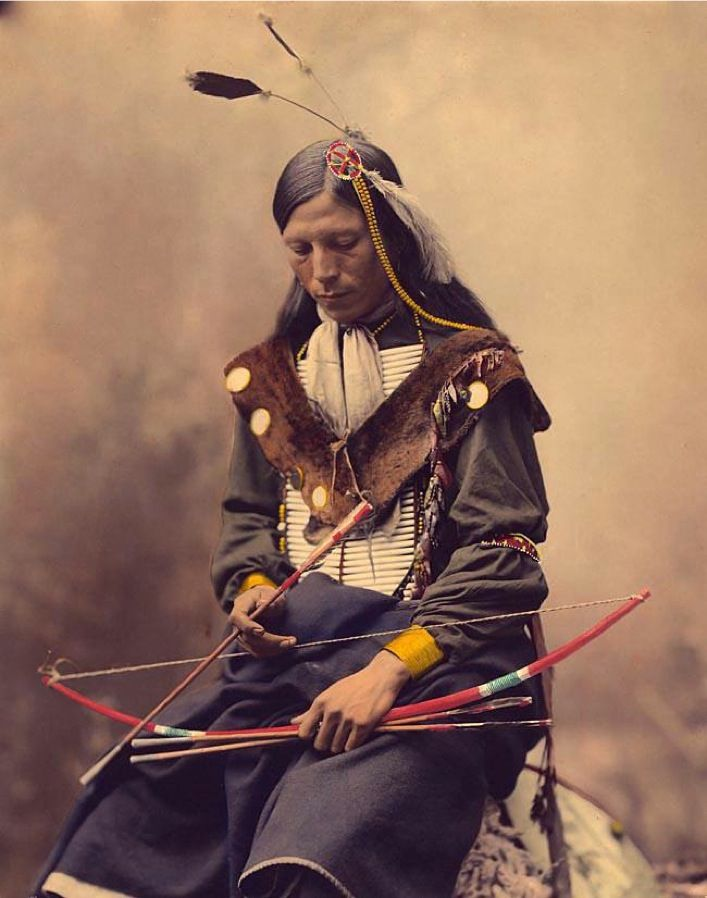 """A photograph of a Potawatomi man. My Native American blood is of the Potawatomi.  The Potawatomi were part of a long-term alliance, called the Council of Three Fires, with the Ojibwe (Chippewa) and Odaawaa/Odawa (Ottawa). In the Council of Three Fires, the Potawatomi were considered the """"youngest brother."""" The Potawatomi made their home near the Great Lakes Region."""