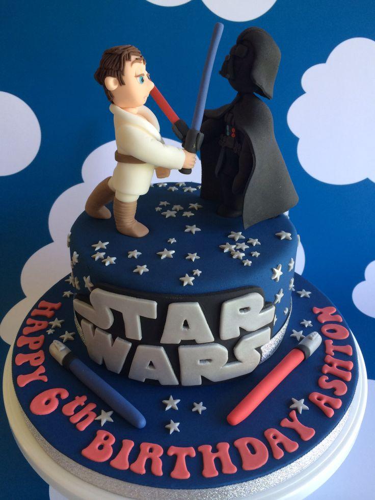 Star Wars Cake with Fondant Darthvader  Luke Skywalker... by Sevenoakspartycakes.co.uk