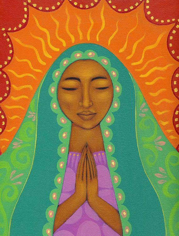 Virgen de Guadalupe Mexican Folk Art Wood Mounted Print by Tamara Adams
