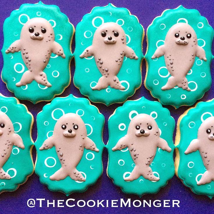 Baby Sea Lion Cookies  Animal Cookies  Pinterest  Lion cookies, Sea ...