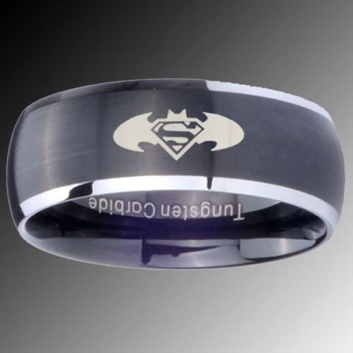 8MM Tungsten Brush Black Two Tone Dome Batman Superman Ring SZ 7 14