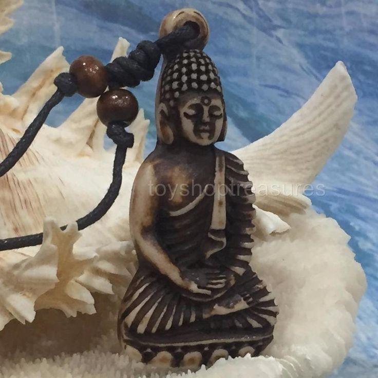 New Faux Bone Buddha Necklace - Ancient Bone Buddha Wood Beads 5.4 x 2.8cm