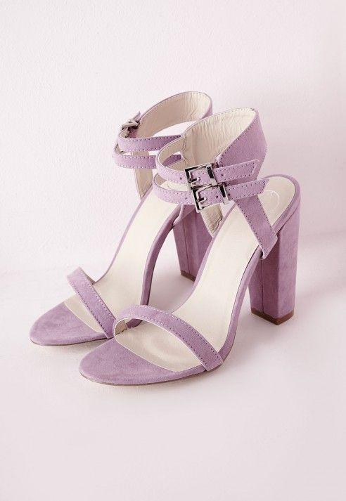 Sandales en suédine talon carré et double bride couleur lilas - Chaussures - Talons hauts - Missguided