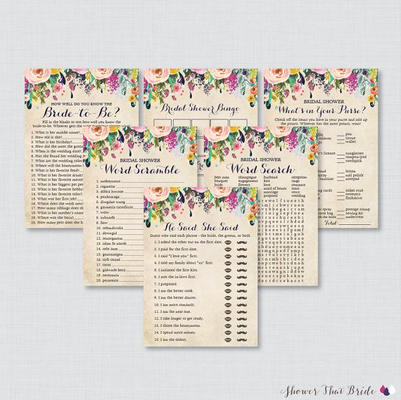 Floral Bridal Shower Games Package with Six Games- Printable Colorful Flower Garden Bridal Shower Games - He Said She Said, Bingo, etc 0002