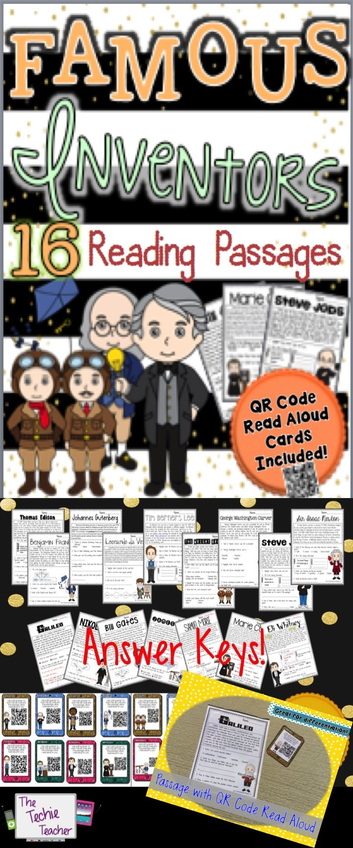 16 different reading passages about new and old INVENTORS. QR Codes read aloud the passages!
