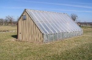 Grow food all year long in a passive solar greenhouse. This one at the University of MO, Columbia. The link provides materials lists and performance info.