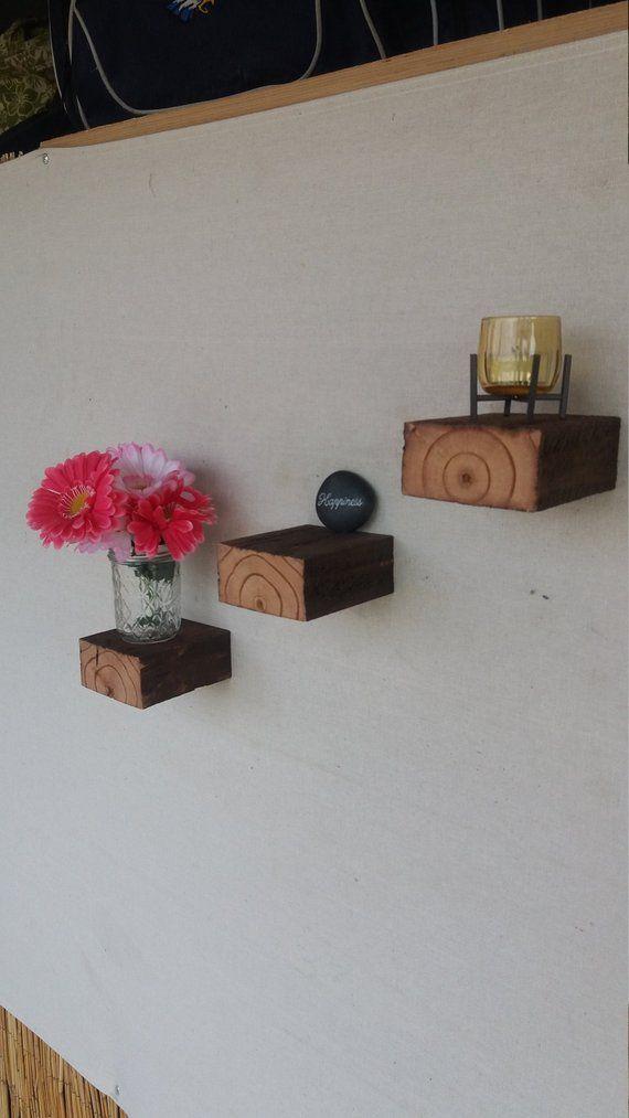 Floating Shelves Set Of Three Wood Block Shelves Wood Floating
