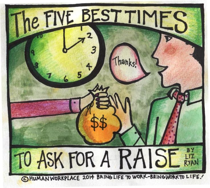 The Five Best Times to Ask for a Raise...I'm actually pinning this because I like the colored pencil l/ marker/semi watercolor look of the graphics.  I mean, I'd love a raise, but I just like how these graphics look.