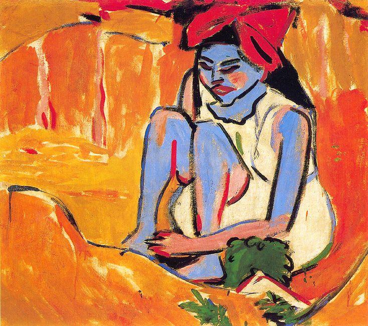Ernst Ludwig Kirchner - Das blaue Mädchen in der Sonne (1910)