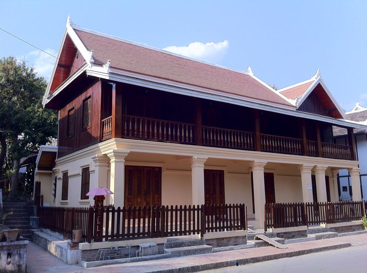 Modern Luang Prabang, Laos architecture in the French colonial style.