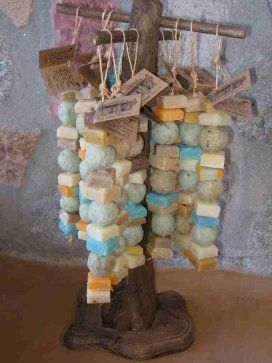 I like this display of soap on ropes.