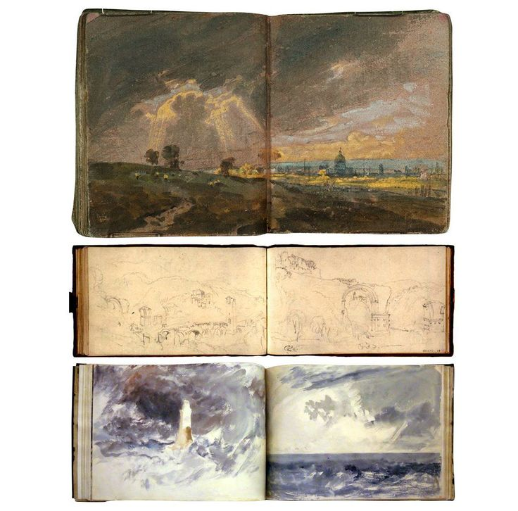 william turner sketchbooks. - Although he received little formal schooling, Turner was clearly a talented artist, and by age 13 he was selling drawings that were featured at his father's shop. The Royal Academy of Arts admitted Turner in late 1789, and the following year he was given the chance to display his work in the Royal Academy Exhibition.