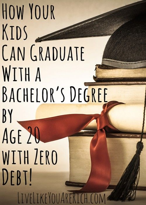 Great idea for kids and teens. How to graduate with a 4 year degree by age 20 with zero debt! #LiveLikeYouAreRich