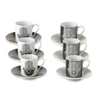 Tasse à café en porcelaine main de Fatma Gris / Blanc 9 cl - Set de 6 YASMINA