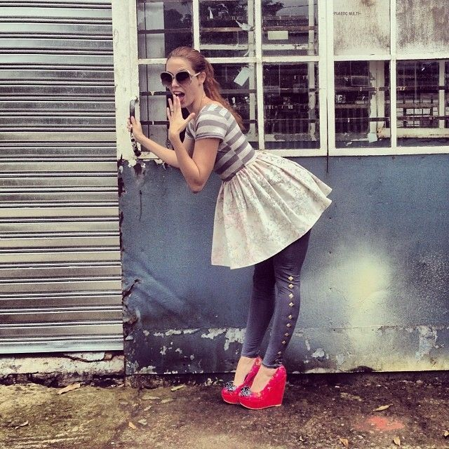 The cotton skirt panel of this Waewest skate dress is made from recycled curtaining, worn with Waewest studded leggings and Iron Fist wedges, glasses from JAM clothing www.jamclothing.co.za #jamclothing