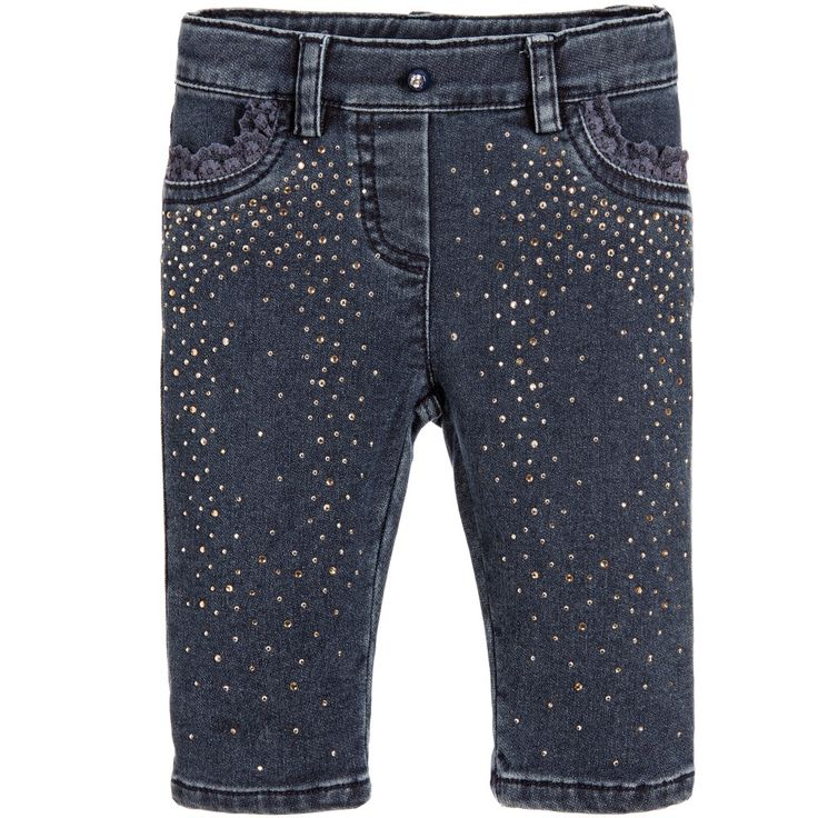 Miss Blumarine Baby Girls Blue Sparkly Jeggings  at Childrensalon.com