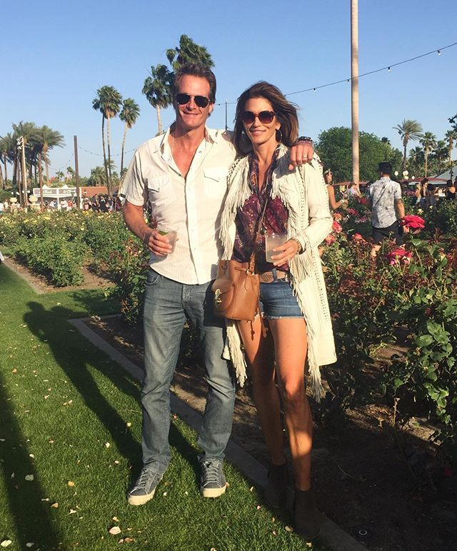 Pin for Later: These Celebrity 'Grams Prove That Even Traveling to Coachella Is a Full Fashion Event Cindy Crawford Completed Her Cutoffs With the Perfect Fringed Cardigan