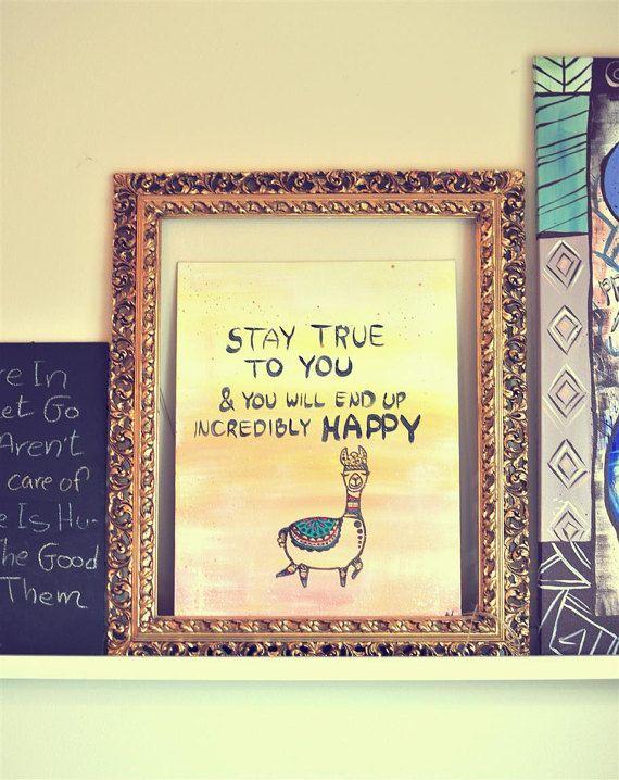 Alpaca Painting, Quote wall art, Alpaca canvas, Boho baby room, Happy wall art, Unisex baby nursery decor, Boho wall decor, Original art