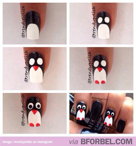 How to: Penguin Nails! Looks easy enough. #DIY
