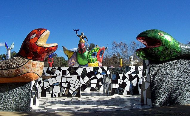 A large sculptural artwork and garden in Escondido, California.