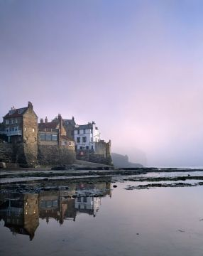 Misty dawn, Robin Hood's Bay, Yorkshire, England