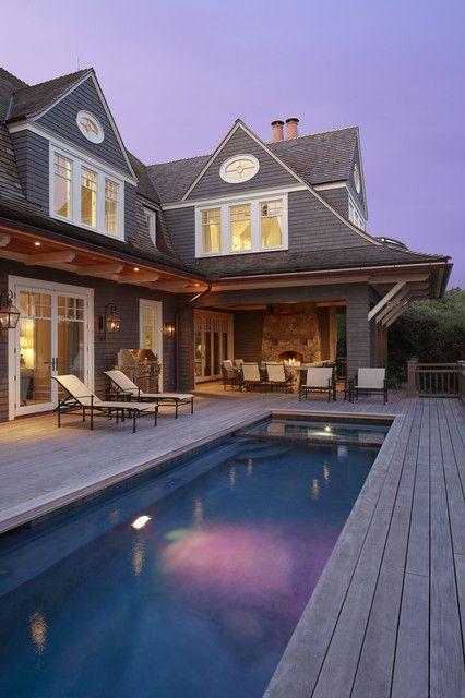 Gorgeous Hampton style wooden decking around pool