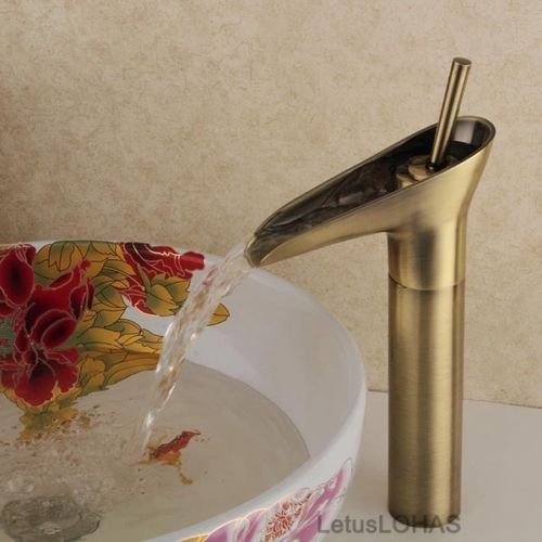 Traditional-Antique-Bathroom-Basin-Mixer-Tap-Solid-Brass-Waterfall-Sink-Faucet