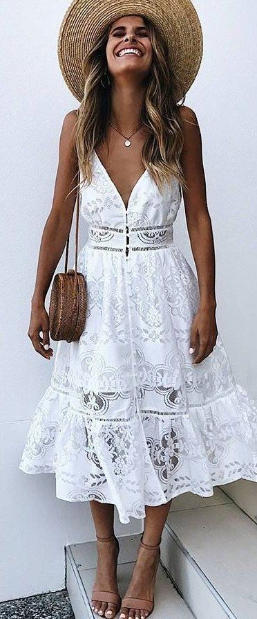 white lace sleeveless dress, basket purse, woven hat, flat neutral sandals