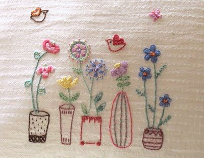 sweet and pretty flowers -- bit of embroidery from the template in issue 2 of 'Mollie Makes' --