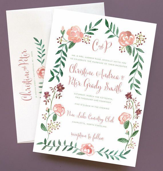 Watercolor Flower Wedding Invitation with Flower Border and Monogram - Watercolor Rose