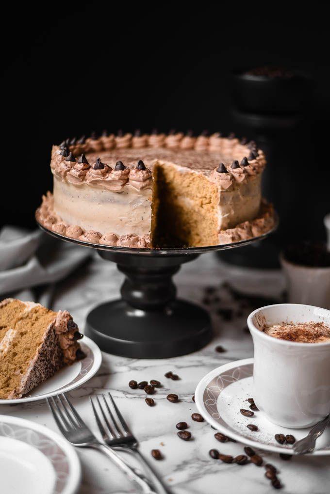 Vanilla cappuccino cake with white chocolate espresso frosting ; coffee ; sour cream