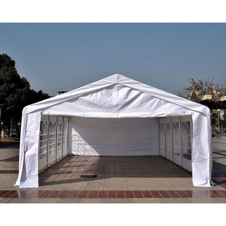White 32'x16' Outdoor Heavy Duty Carport Canopy Wedding