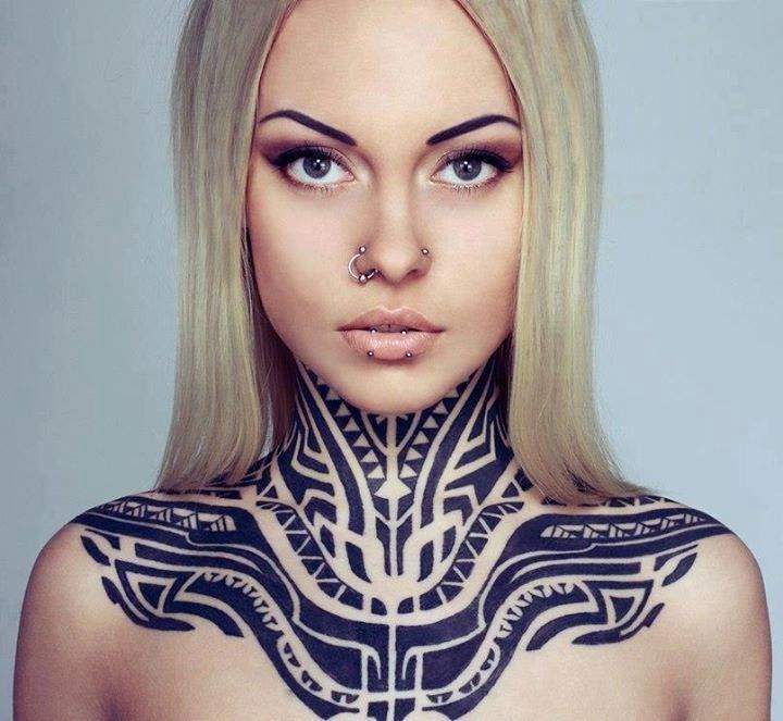 Dope Neck And Chest Tattoo
