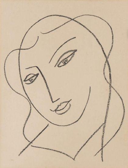 """Henri Matisse (1869-1954), Étude pour la vierge """"tête voilée""""(Study for the Virgin """"veiled head"""")."""