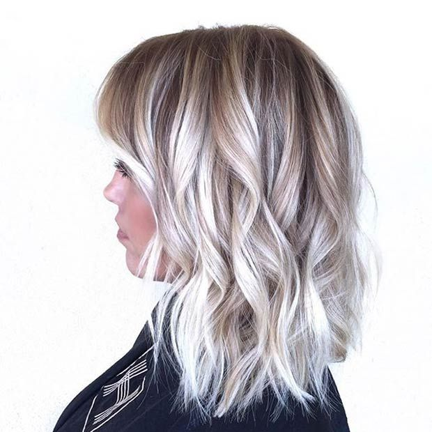 Curly Ice Blonde Long Bob (Lob)