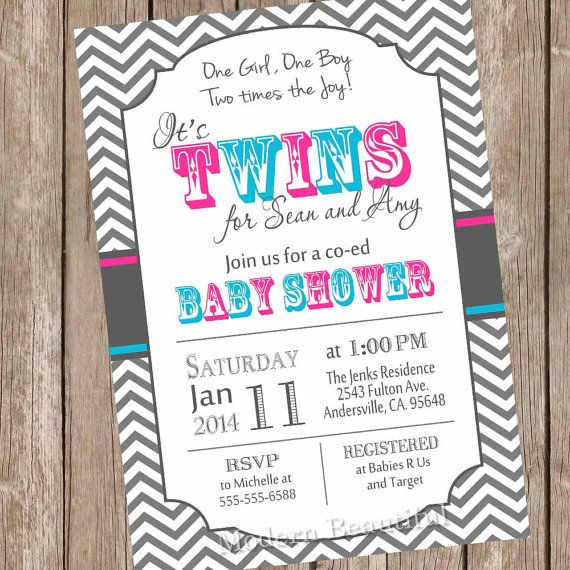 Twins Baby Shower Invitation, Twin Girl, Twin Boy, Boy And Girl Twins,  Pink, Blue, Chevron, Typography, Printable Invitation