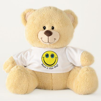 Yellow Smiley Face Have a Nice Day Large Teddy Bear - home gifts ideas decor special unique custom individual customized individualized