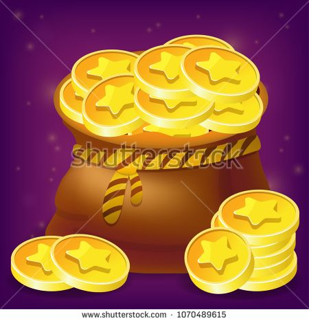 Vector bag with golden coins - game icon isolated on purple background