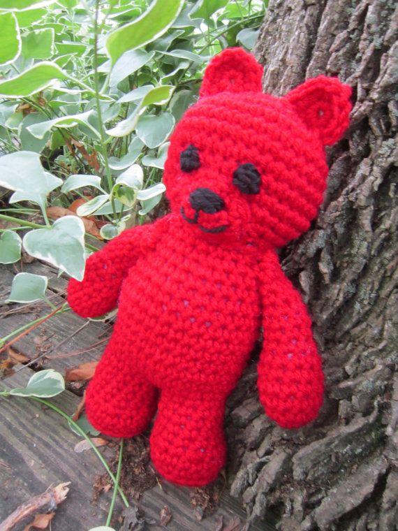 Ruby Red Teddy Bear July Birthstone by crochetedbycharlene on Etsy, $21.00