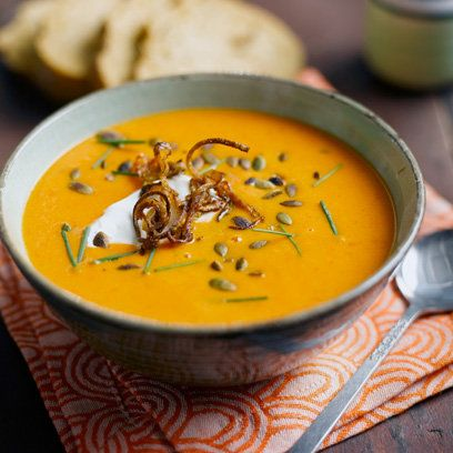 Shallot, pumpkin and red pepper soup recipe. For the full recipe, click the picture or visit RedOnline.co.uk