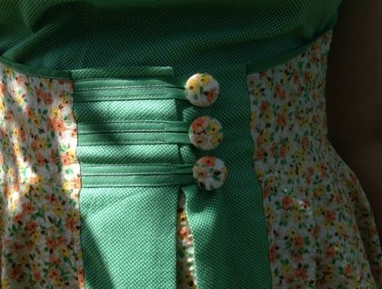 Retro Flowers and Foliage 50's Styled ApronDress