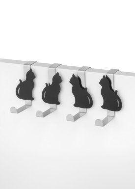 """Appendini per porta """"gatti"""" (set 8 pezzi), bpc living, Argento/nero"""